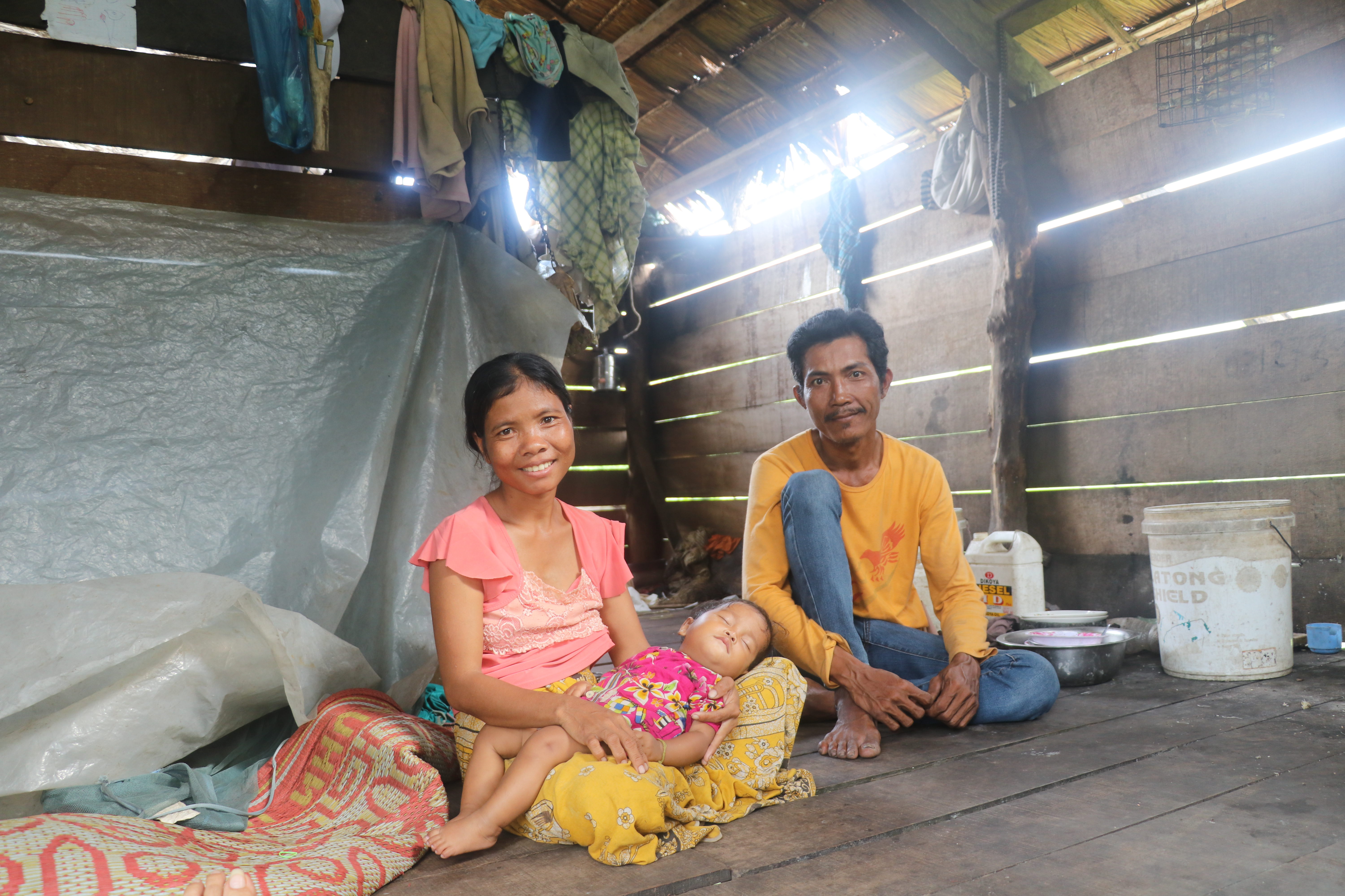 Bora and her husband (Bit Ban) at their home in a rural village of Cambodia